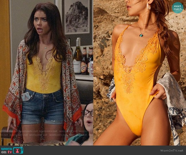 Blue Life Eclipse Embroidered One-Piece Swimsuit worn by Haley Dunphy (Sarah Hyland) on Modern Family