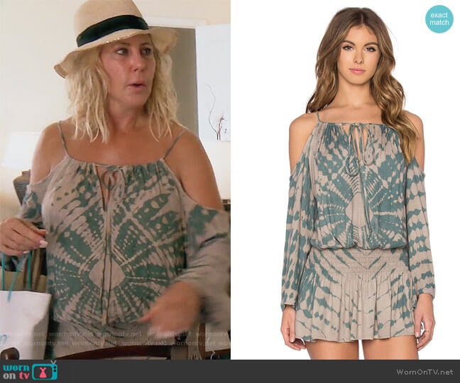 Shirred Waist Open Dress by Blue Life worn by Vicki Gunvalson on The Real Housewives of Orange County