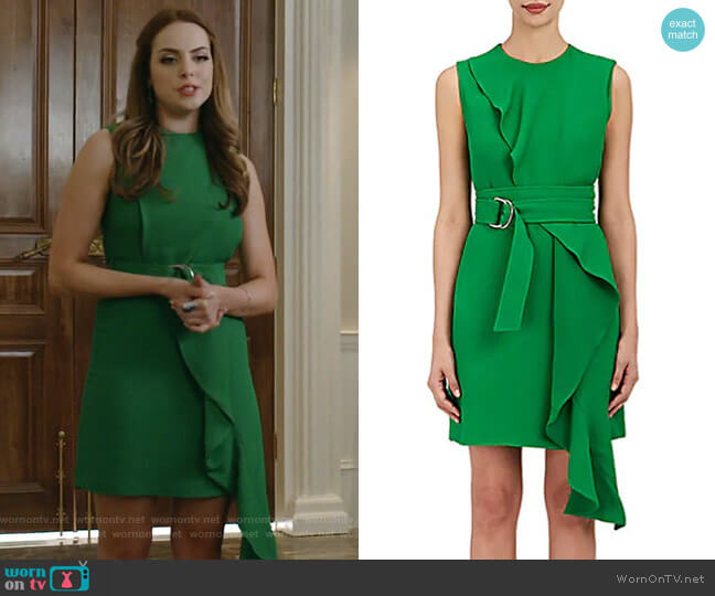 Crepe Belted Dress by Calvin Klein 205W39NYC worn by Elizabeth Gillies on Dynasty
