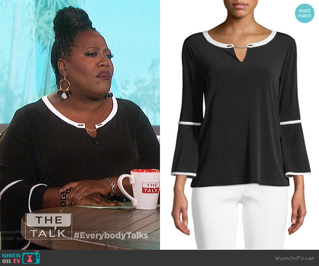 Bell-Sleeve Keyhole Top by Calvin Klein worn by Sheryl Underwood  on The Talk