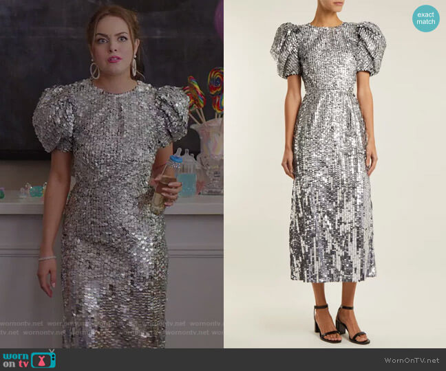 Open-Back Sequined Tulle Gown by Carolina Herrera worn by Elizabeth Gillies on Dynasty