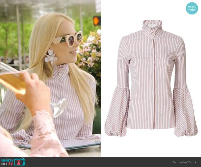Jacqueline Striped Blouse by Caroline Constas worn by Kameron Westcott  on The Real Housewives of Dallas