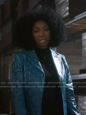 Cassie's blue snake print coat on Star