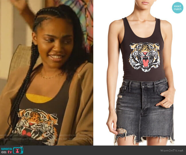 Tiger Print Bodysuit by Chaser worn by Jennifer Pierce (China Anne McClain) on Black Lightning