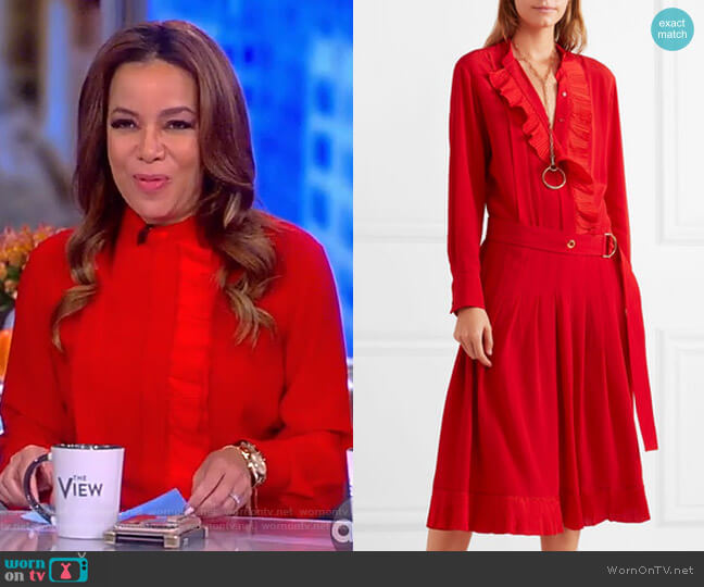 Ruffled silk crepe de chine midi dress by Chloe worn by Sunny Hostin on The View