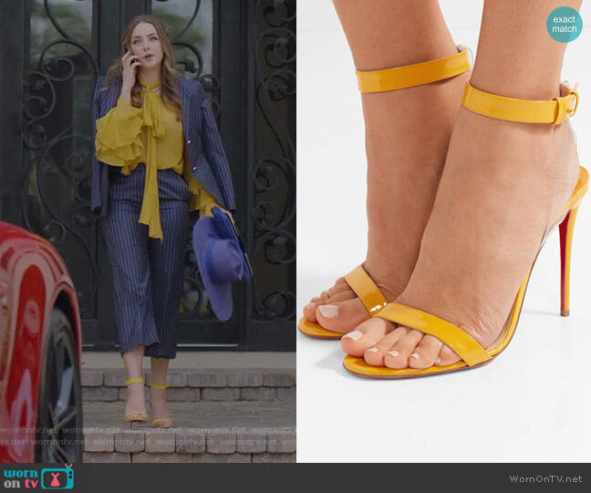 Jonatina Sandals by Christian Louboutin worn by Fallon Carrington (Elizabeth Gillies) on Dynasty