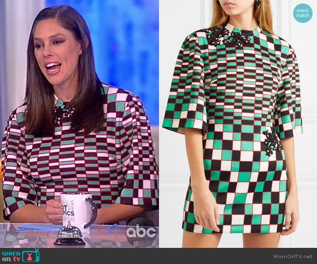 Embellished checked stretch-scuba mini dress by Christopher Kane worn by Abby Huntsman  on The View