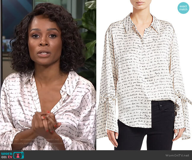 Elisia Love Letter Silk Blouse by Cinq a Sept worn by Zuri Hall  on E! News