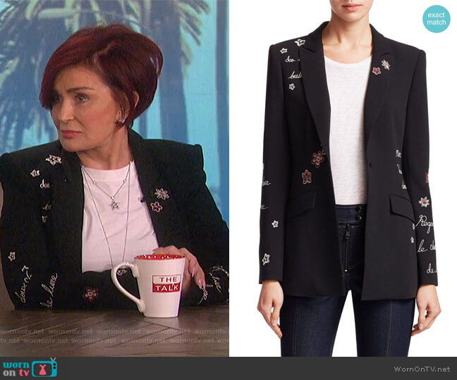 Sharon's embroidered blazer on The Talk