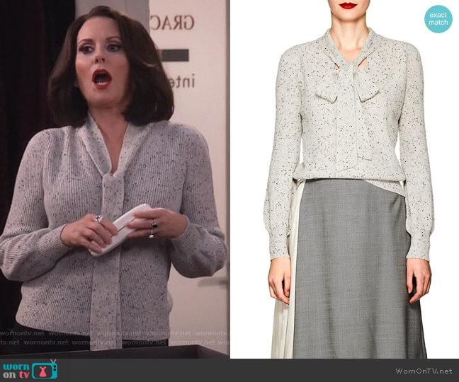 Cashmere Tieneck Sweater by Co worn by Karen Walker (Megan Mullally) on Will & Grace