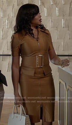 Cookie's zip front belted dress on Empire