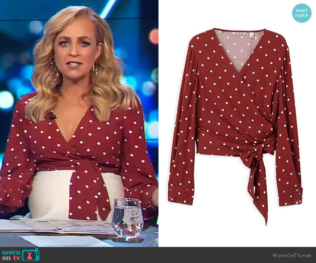 Spot Print Wrap Top by Country Road worn by Carrie Bickmore (Carrie Bickmore) on The Project