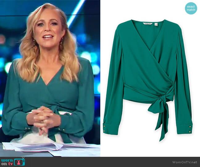 Wrap Top by Country Road worn by Carrie Bickmore on The Project