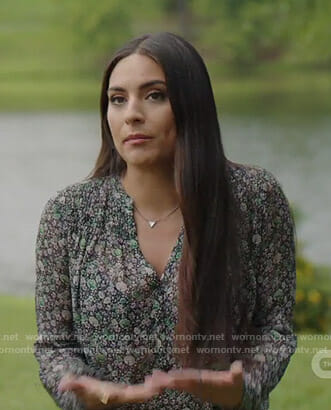 Cristal's black floral blouse on Dynasty