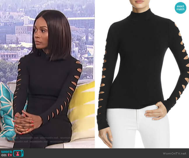 Cutout-Sleeve Sweater by Aqua worn by Zuri Hall  on E! News