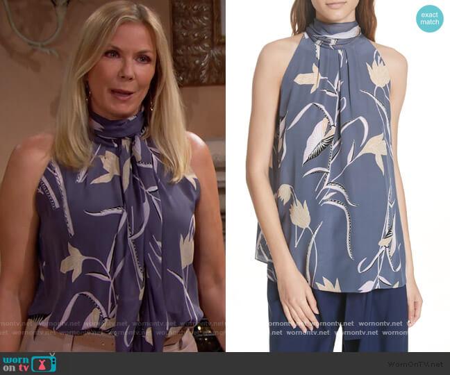 Diane von Furstenberg Oswald Lilac Sleeveless High Neck Blouse worn by Brooke Logan (Katherine Kelly Lang) on The Bold & the Beautiful