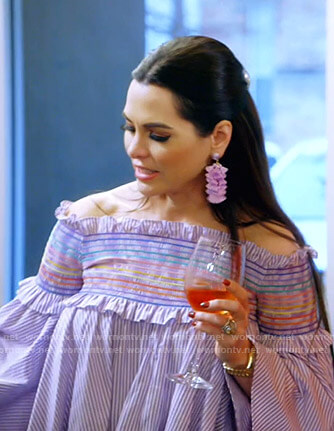 D'Andra's blue striped off shoulder top on The Real Housewives of Dallas