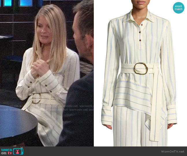 Derek Lam 10 Crosby Long-Sleeve Belted Asymmetric Shirt worn by Nina Reeves (Michelle Stafford) on General Hospital