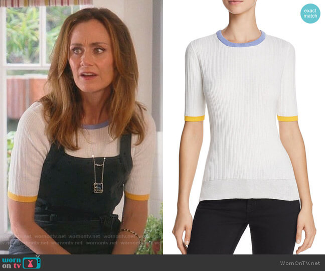 Ribbed Cotton-Blend Top by Derek Lam 10 Crosby worn by Diane Farr on Splitting Up Together