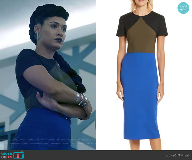 Colorblock Tailored Midi Dress by Diane von Furstenberg worn by Reeva Payge (Grace Byers) on The Gifted
