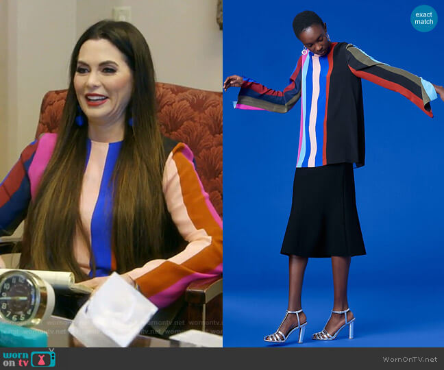 Long-Sleeve Side Slit Blouse by Diane von Furstenberg worn by D'Andra Simmons  on The Real Housewives of Dallas