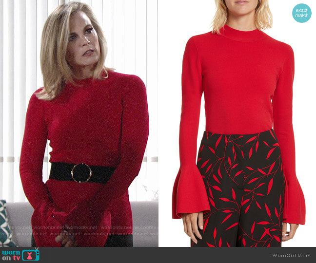 Diane von Furstenberg Flutter Sleeve Mock Neck Sweater worn by Phyllis Newman (Gina Tognoni) on The Young & the Restless
