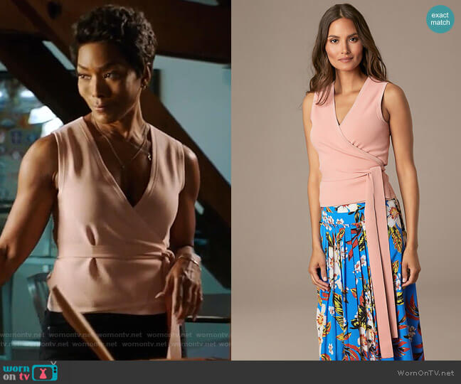 Sleeveless Wrap Cardigan by Diane von Furstenberg worn by Athena Grant (Angela Bassett) on 9-1-1