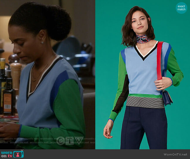 Long-Sleeve V-Neck Color Block Pull Over by Diane von Furstenberg worn by Maggie Pierce (Kelly McCreary) on Greys Anatomy