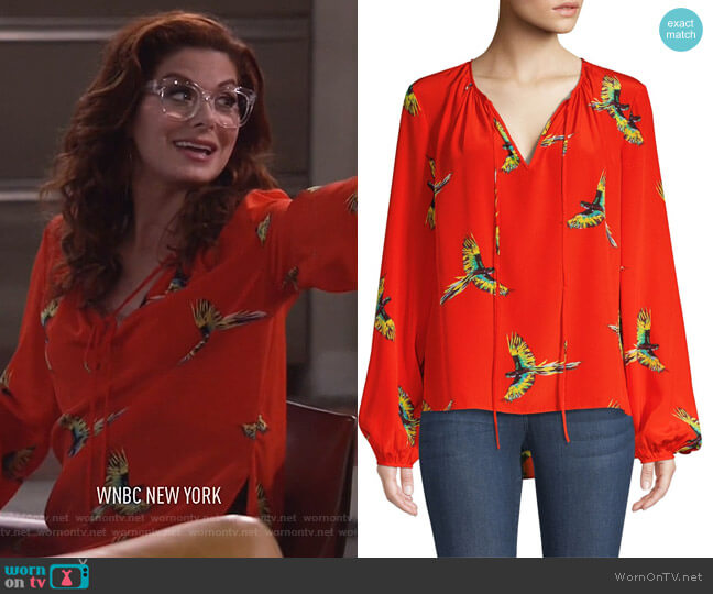 Silk Bird-Print Long-Sleeve Blouse by Diane von Furstenberg worn by Grace Adler (Debra Messing) on Will & Grace