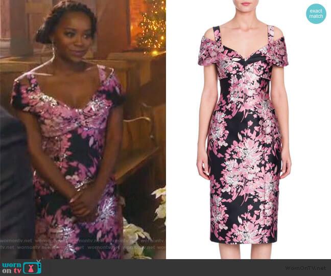Floral Jacquard Off-Shoulder Dress by Dolce & Gabbana worn by Aja Naomi King on HTGAWM
