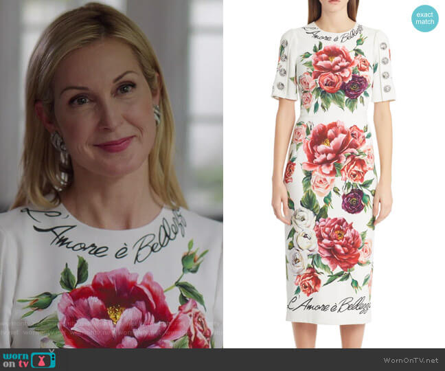 Melissa's floral dress on Dynasty