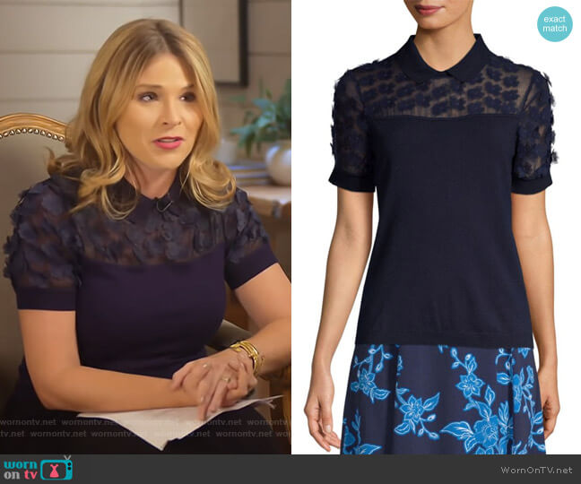 Fleurette Embellished Sweater by Draper James worn by Jenna Bush Hager on Today