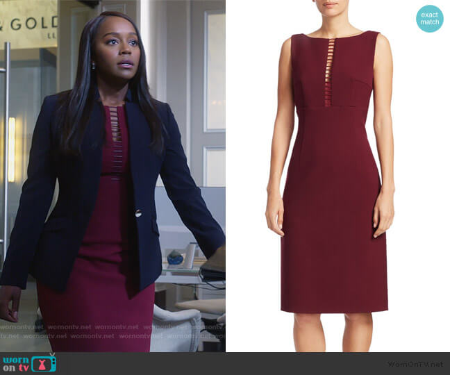 Doreen Ladder Front Sheath Dress by Elie Tahari worn by Michaela Pratt (Aja Naomi King) on HTGAWM
