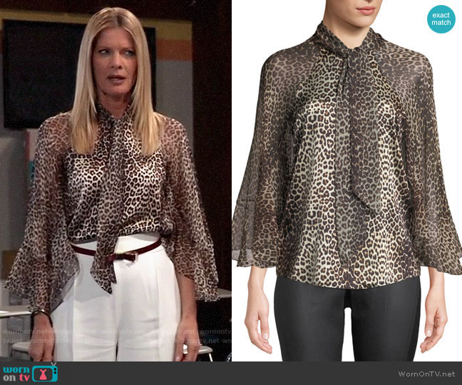Elie Tahari Matilda Animal Print Blouse worn by Nina Reeves (Michelle Stafford) on General Hospital
