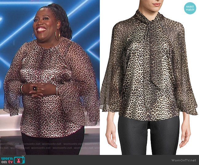 Matilda Leopard-Print Silk Blouse by Elie Tahari worn by Sheryl Underwood (Sheryl Underwood) on The Talk