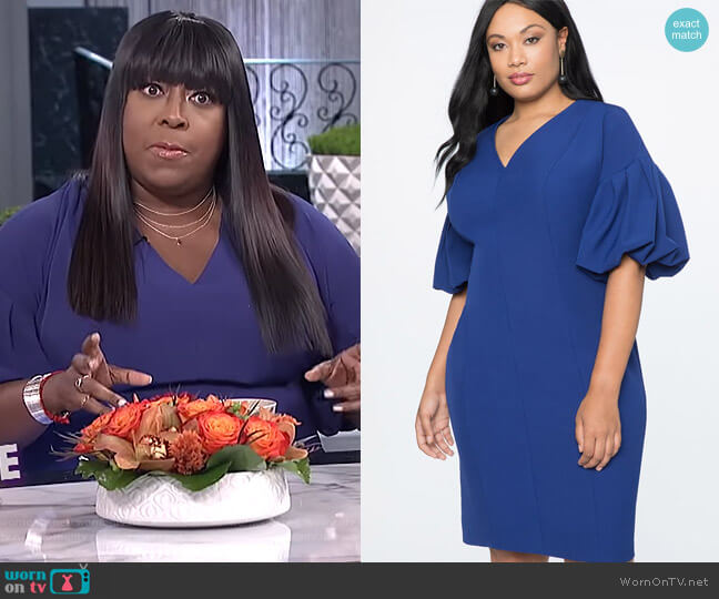 Puff Sleeve V-Neck Dress by Eloquii worn by Loni Love on The Real