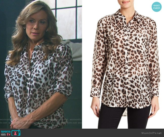 Daddy Cheetah Print Blouse by Equipment worn by Kristen DiMera (Stacy Haiduk) on Days of our Lives