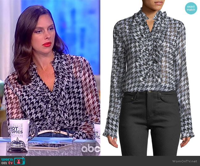 Samine Ruffled-Bib Houndstooth Silk Blouse by Equipment worn by Abby Huntsman (Abby Huntsman) on The View