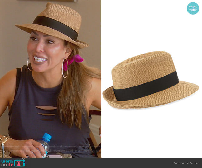 Squishee Classic Woven Fedora Hat by Eric Javits worn by Kelly Dodd  on The Real Housewives of Orange County