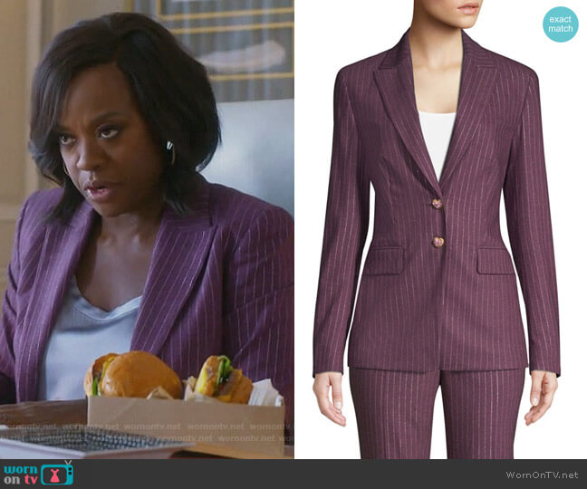 Metallic Pinstripe Jacket by Escada worn by Annalise Keating (Viola Davis) on HTGAWM