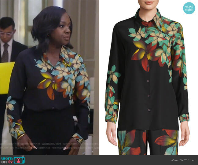 Silk Floral Blouse by Etro worn by Annalise Keating (Viola Davis) on HTGAWM