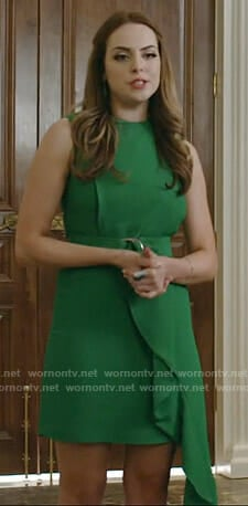 Fallon's green belted draped dress on Dynasty
