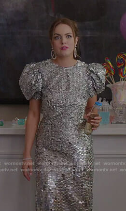 Fallon's sequin puff sleeve gown on Dynasty