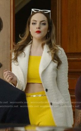 Fallon's yellow cropped top and pants on Dynasty
