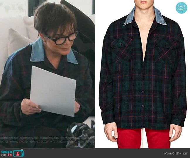 Plaid Wool Flannel Oversized Shirt by Fear of God worn by Kris Jenner on Keeping Up with the Kardashians