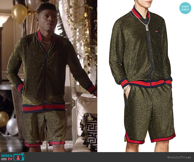 Logo Sparkly Bouclé Bomber Jacket and Shorts by Fila worn by Hakeem Lyon (Bryshere Y. Gray) on Empire