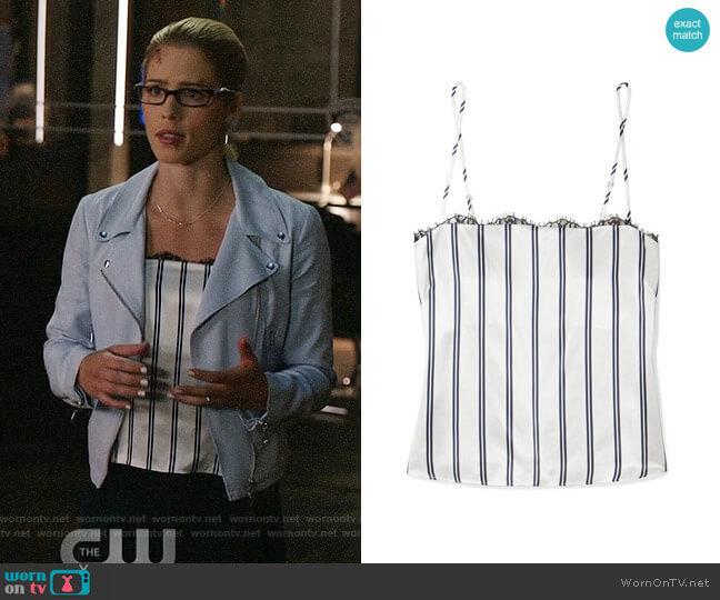 Fleur du Mal Striped Lace-trimmed Camisole worn by Emily Bett Rickards on Arrow