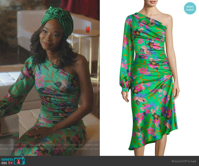 Floral One-Sleeve Ruched Dress by Etro worn by Monica Colby (Wakeema Hollis) on Dynasty