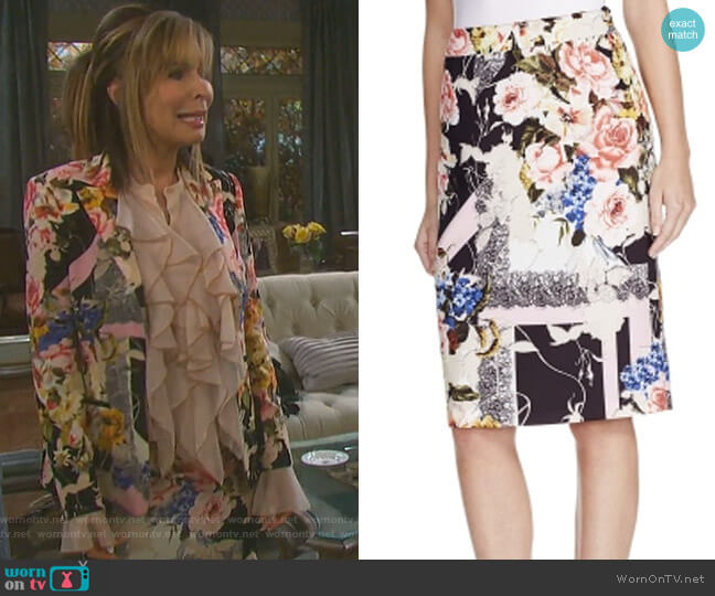 Floral Print Pencil Skirt by Basler worn by Lauren Koslow on Days of our Lives