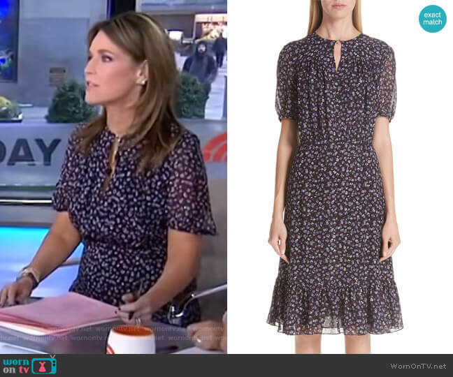 Wornontv Savannah S Purple Floral Dress With Ring Detail
